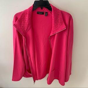 Susan Graver Pius size Jacket Sz 2X Hot Pink Zip